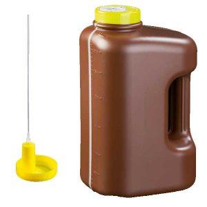 flacon-pour urine de 24 heures a-vide-marron-3-litres-avec-canule odil-shop.fr